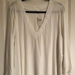 NWT Anthropologie A+ v-neck ribbed long sleeve tee